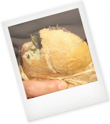 Panino cicoria e rost-beef